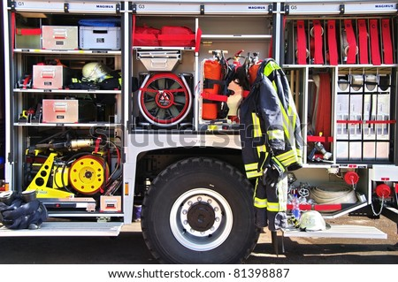 Firefighters equipment in a truck - stock photo