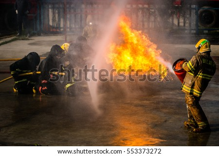 Firefighters training .fireman