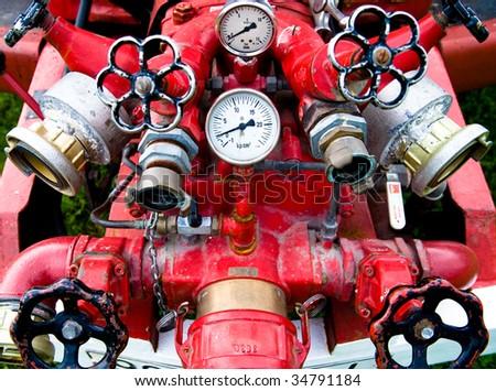 Firefighting machine hydraulics - stock photo