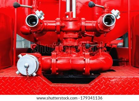 Firefighting machine hydraulics tool of fire engine - stock photo