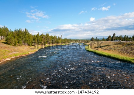 Firehole River at Midway Geyser Basin. - stock photo