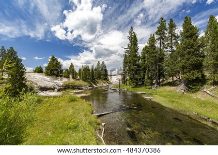 Firehole River in Upper Geyser Basin, Yellowstone National Park