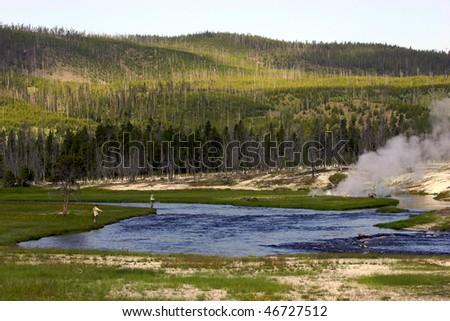 Firehole River, Yellowstone National Park - stock photo