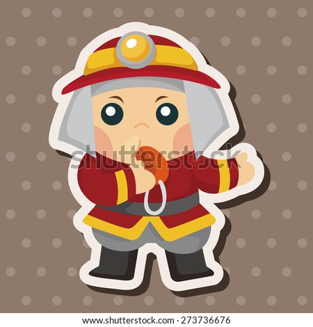fireman , cartoon sticker icon - stock photo