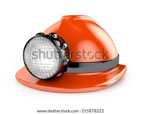 fireman / construction helmet with headlamp - stock photo