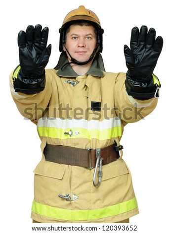 Fireman hand gestures instructs to stop the movement. Isolated on white background