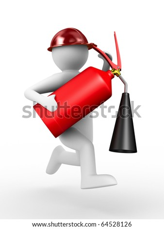 fireman on white background. Isolated 3D image - stock photo