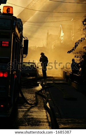 Fireman Silhouette - stock photo