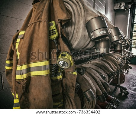 Firemen protection gear and hoses