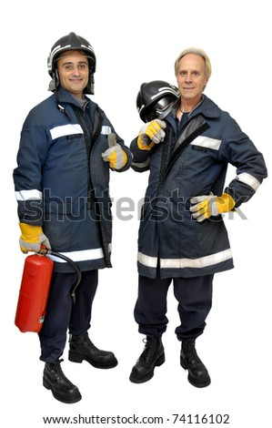 Firemen team in uniform isolated in white - stock photo