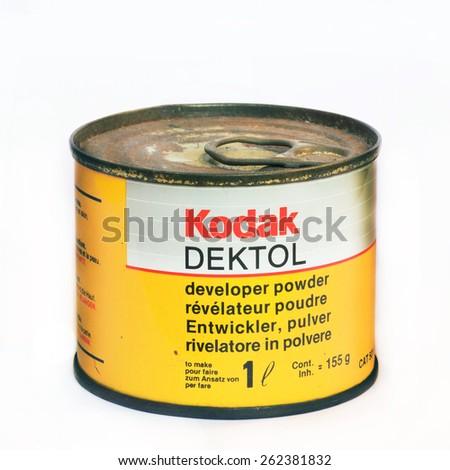 Firenze, IT - March 20, 2015: Vintage Kodak Dektol developer powder for print - stock photo