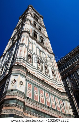 Firenze, Italy - April 21, 2017: The Duomo with Giotto Bell Tower in Florence, Firenze, Tuscany, Italy
