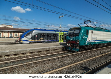 FIRENZE- ITALY: MAY, 5 2016: Trenitalia ETR 425 Jazz Electric Train is Passing from the Station of Firenze Rifredi