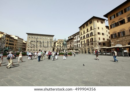 FIRENZE, ITALY - MAY 22, 2014 - view of famous Piazza della Signoria in Florence, Tuscany, Italy.