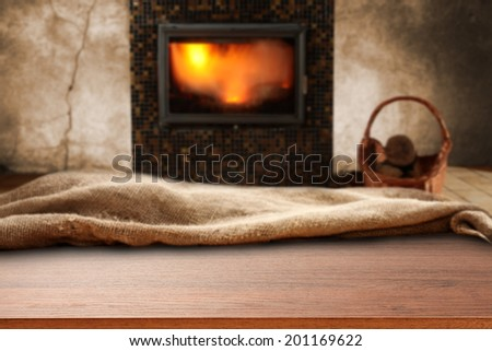 fireplace and desk of sack
