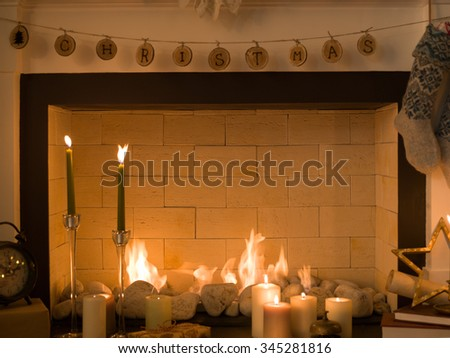 Fireplace at Christmas Home - stock photo