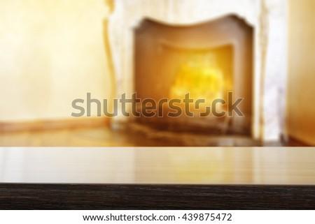 fireplace background and free place on shelf  - stock photo
