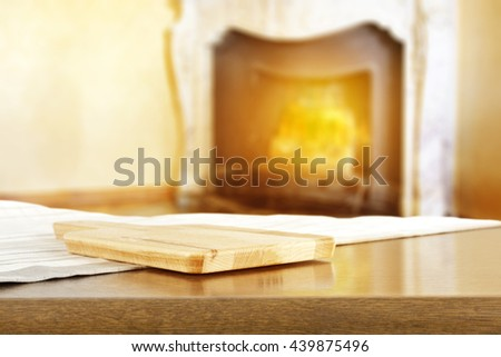 fireplace background and kitchen desk shelf and free place  - stock photo