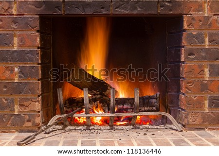 Fireplace in a new house - stock photo