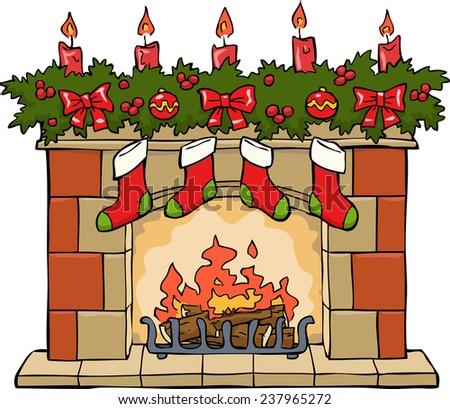 Fireplace in Christmas on a white background raster version - stock photo