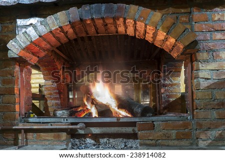 fireplace in mountain cottage