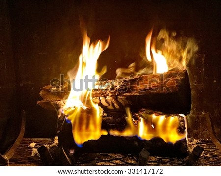 Fireplace in the darkness - stock photo