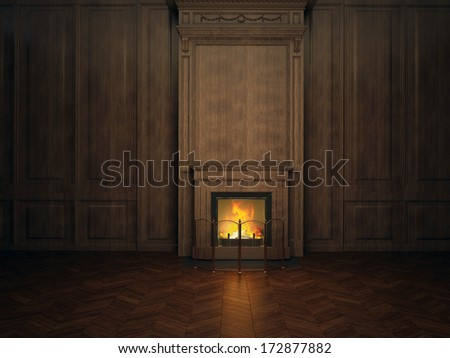 fireplace in the room paneled in wood - stock photo