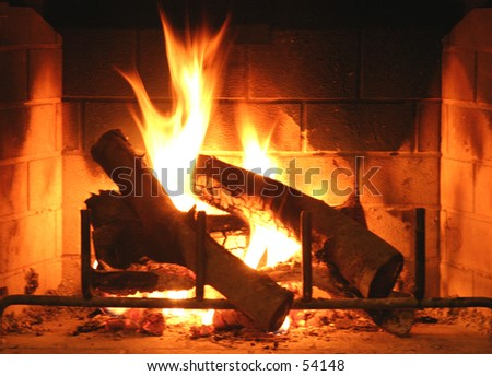 Fireplace in Winter 1 - stock photo