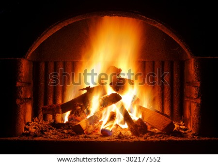 Fireplace outdoor - stock photo