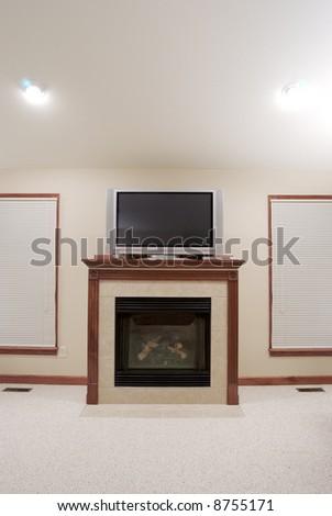Fireplace & Plasma TV - stock photo