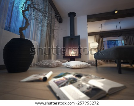 fireplace room, 3d image - stock photo