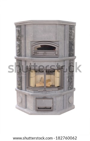 fireplace under the white background - stock photo