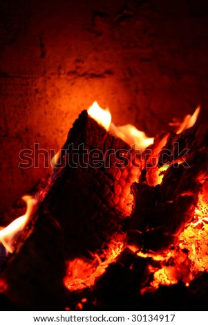 Fireplace with burning fire