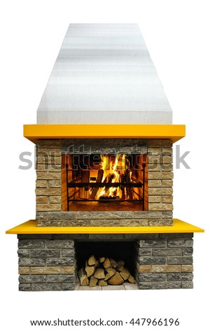 Fireplace with burning fire, isolated on a white background