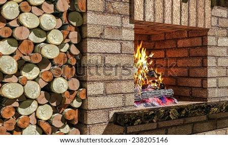 fireplace with wood burning fire and in  niche - stock photo