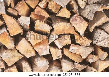 Fireplace wood - stock photo