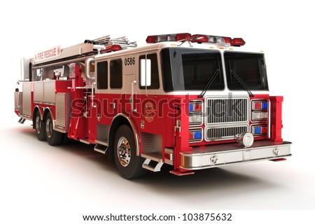 Firetruck on a white background, part of a first responder series,lighted night version also available - stock photo