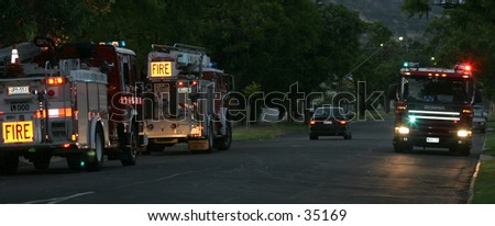 Firetrucks on a callout - stock photo
