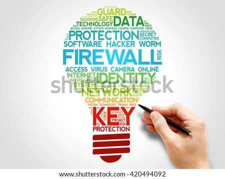FIREWALL bulb word cloud, business concept - stock photo