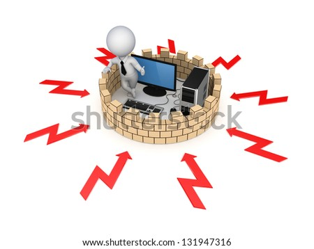 Firewall concept.Isolated on white background.3d rendered. - stock photo