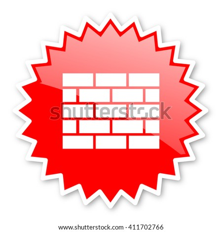 firewall red tag, sticker, label, star, stamp, banner, advertising, badge, emblem, web icon - stock photo