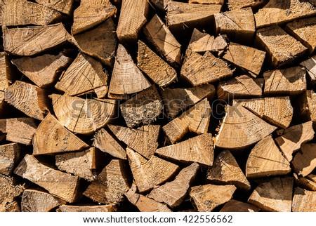 Firewood background texture - stock photo