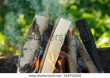 Firewood burning in fire with smoke coming from it - stock photo