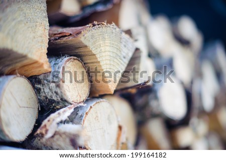 Firewood dry chopped logs in a pile close up - stock photo