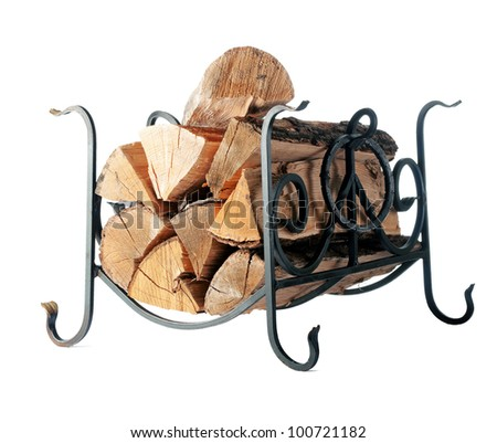 Firewood on the stand. isolation - stock photo