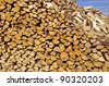 Firewood texture after the sawing wood - stock photo