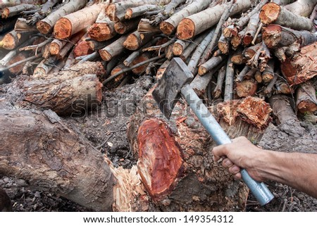 firewood with axe and male hand - stock photo