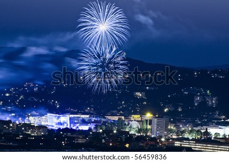 Firework at Blue Hour - stock photo