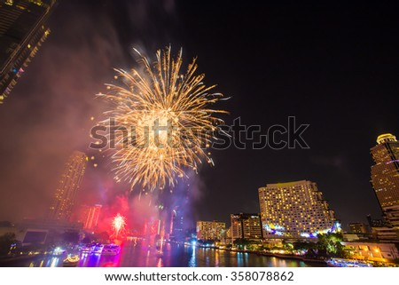 Firework at Chao Phraya River in countdown celebration party 2016 Bangkok Thailand