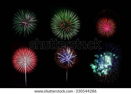 Firework at night, Taiwan   - stock photo